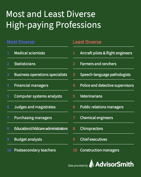 Most and Least Diverse High-Paying Professions